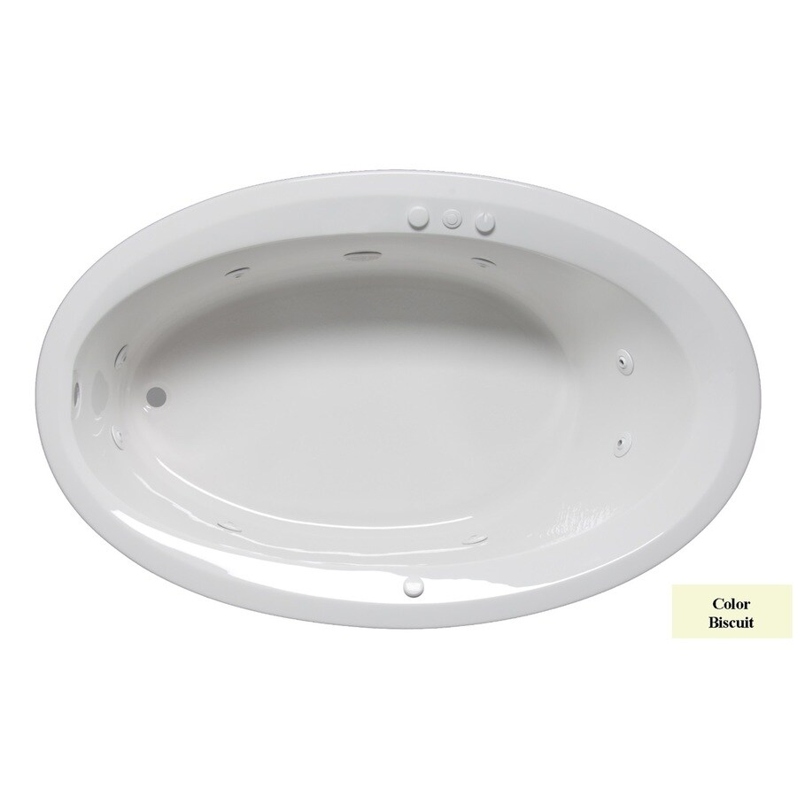 Laurel Mountain Corry Ii 1-Person Biscuit Acrylic Oval Whirlpool Tub (Common: 42-in x 60-in; Actual: 22-in x 42-in x 60-in)