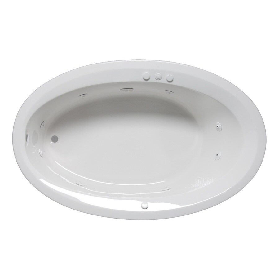 Laurel Mountain Corry Iii 1-Person White Acrylic Oval Whirlpool Tub (Common: 42-in x 66-in; Actual: 22-in x 42-in x 66-in)