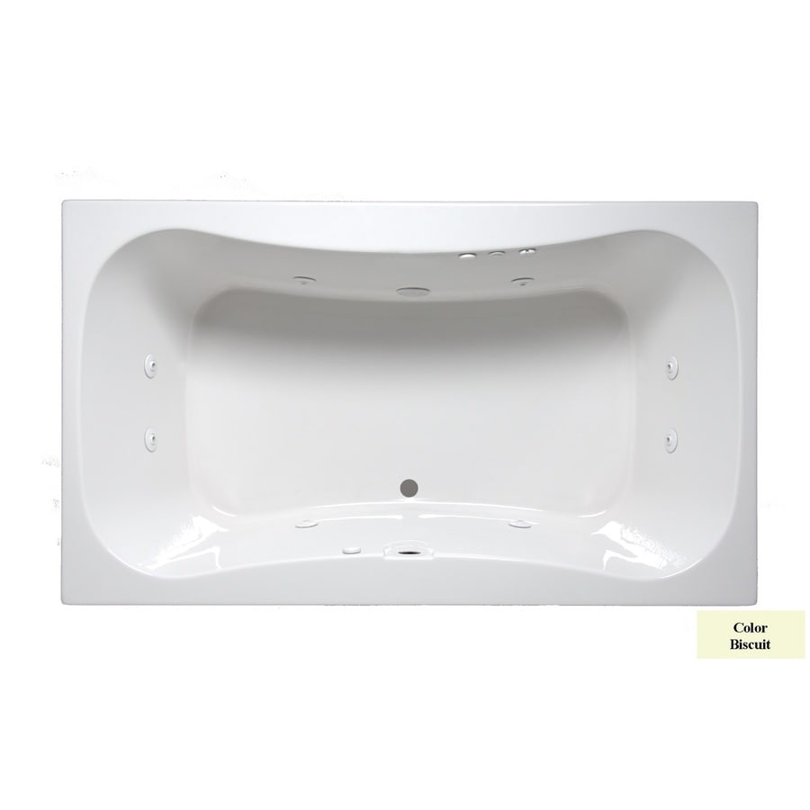 Laurel Mountain Masten Ii 2-Person Biscuit Acrylic Oval In Rectangle Whirlpool Tub (Common: 42-in x 72-in; Actual: 24-in x 42-in x 72-in)