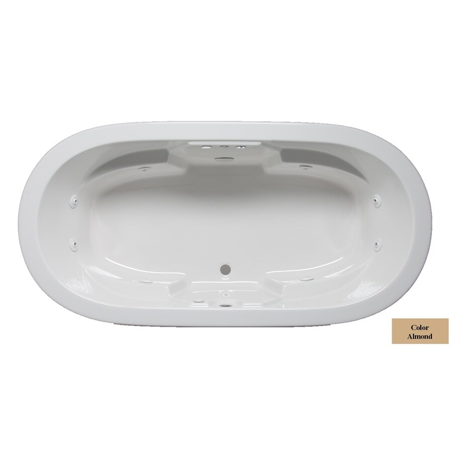 Laurel Mountain Warren 2-Person Almond Acrylic Oval Whirlpool Tub (Common: 36-in x 72-in; Actual: 22-in x 36-in x 72-in)