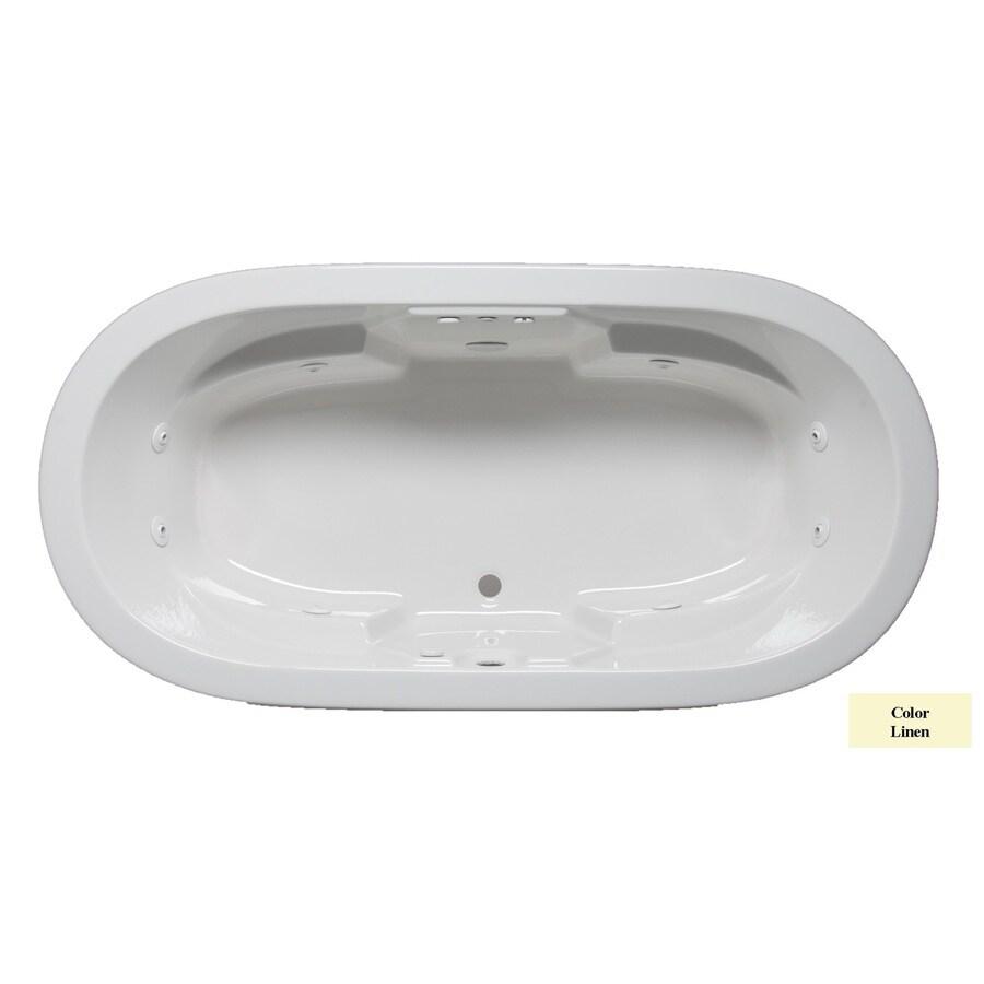 Laurel Mountain Warren 2-Person Linen Acrylic Oval Whirlpool Tub (Common: 36-in x 72-in; Actual: 22-in x 36-in x 72-in)