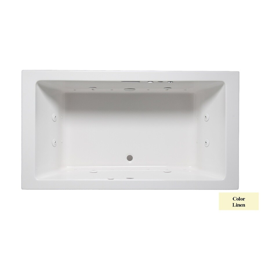 Laurel Mountain Farrell I 66-in L x 36-in W x 22-in H 2-Person Linen Acrylic Rectangular Whirlpool Tub and Air Bath