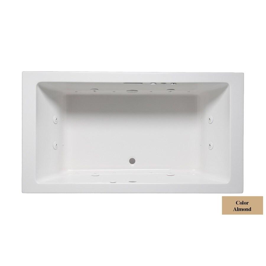 Laurel Mountain Farrell Iii 66-in L x 42-in W x 22-in H 2-Person Almond Acrylic Rectangular Whirlpool Tub and Air Bath
