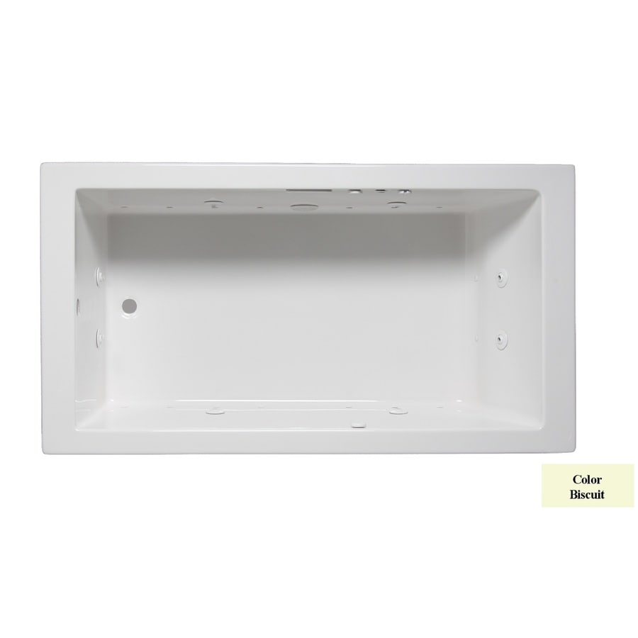 Laurel Mountain Parker I 60-in L x 30-in W x 22-in H 1-Person Biscuit Acrylic Rectangular Whirlpool Tub and Air Bath