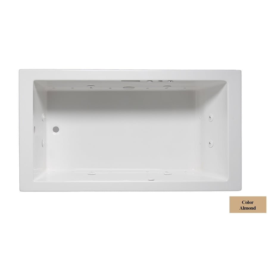 Laurel Mountain Parker Iii 66-in L x 32-in W x 22-in H 1-Person Almond Acrylic Rectangular Whirlpool Tub and Air Bath