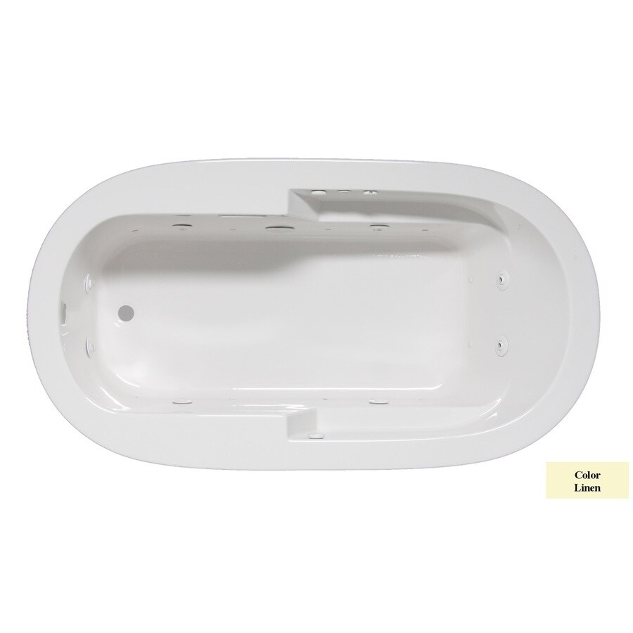 Laurel Mountain Venango 72-in L x 42-in W x 22-in H 1-Person Linen Acrylic Oval Whirlpool Tub and Air Bath