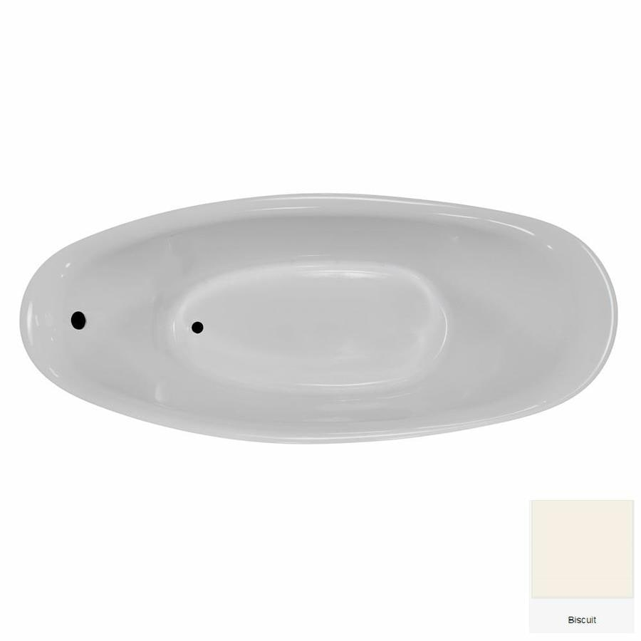 Laurel Mountain Dubois Biscuit Acrylic Oval Pedestal Bathtub with Reversible Drain (Common: 32-in x 72-in; Actual: 28-in x 32-in x 72-in