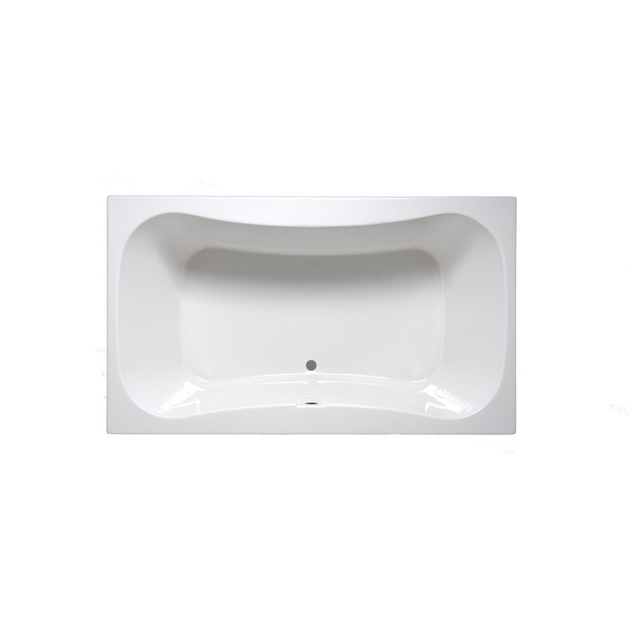 Laurel Mountain Masten Ii White Acrylic Hourglass In Rectangle Drop-in Bathtub with Center Drain (Common: 42-in x 72-in; Actual: 24-in x 42-in x 72-in