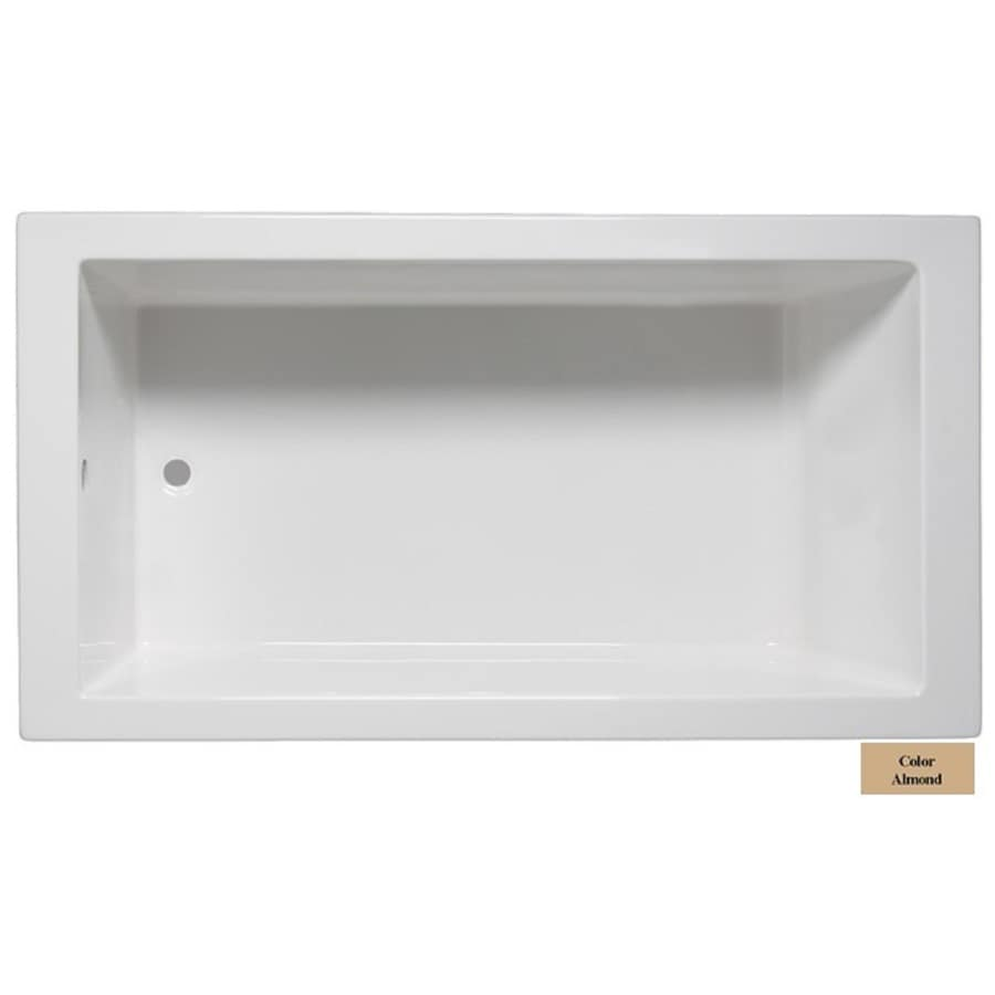 Laurel Mountain Parker Iv Almond Acrylic Rectangular Drop-in Bathtub with Reversible Drain (Common: 32-in x 72-in; Actual: 22-in x 32-in x 72-in