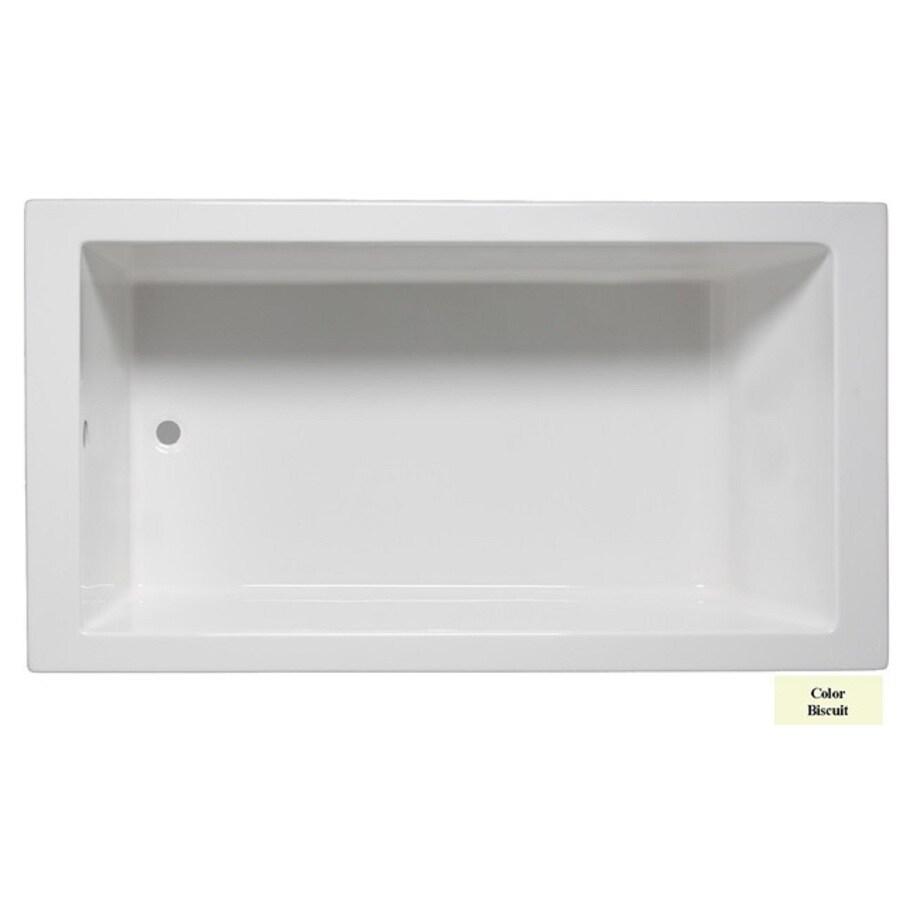 Laurel Mountain Parker Iv Biscuit Acrylic Rectangular Drop-in Bathtub with Reversible Drain (Common: 32-in x 72-in; Actual: 22-in x 32-in x 72-in
