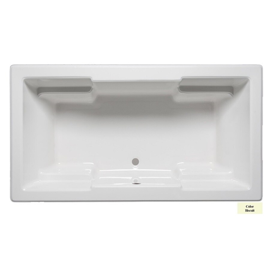 Laurel Mountain Reading Biscuit Acrylic Rectangular Drop-in Bathtub with Front Center Drain (Common: 42-in x 72-in; Actual: 22-in x 42-in x 72-in