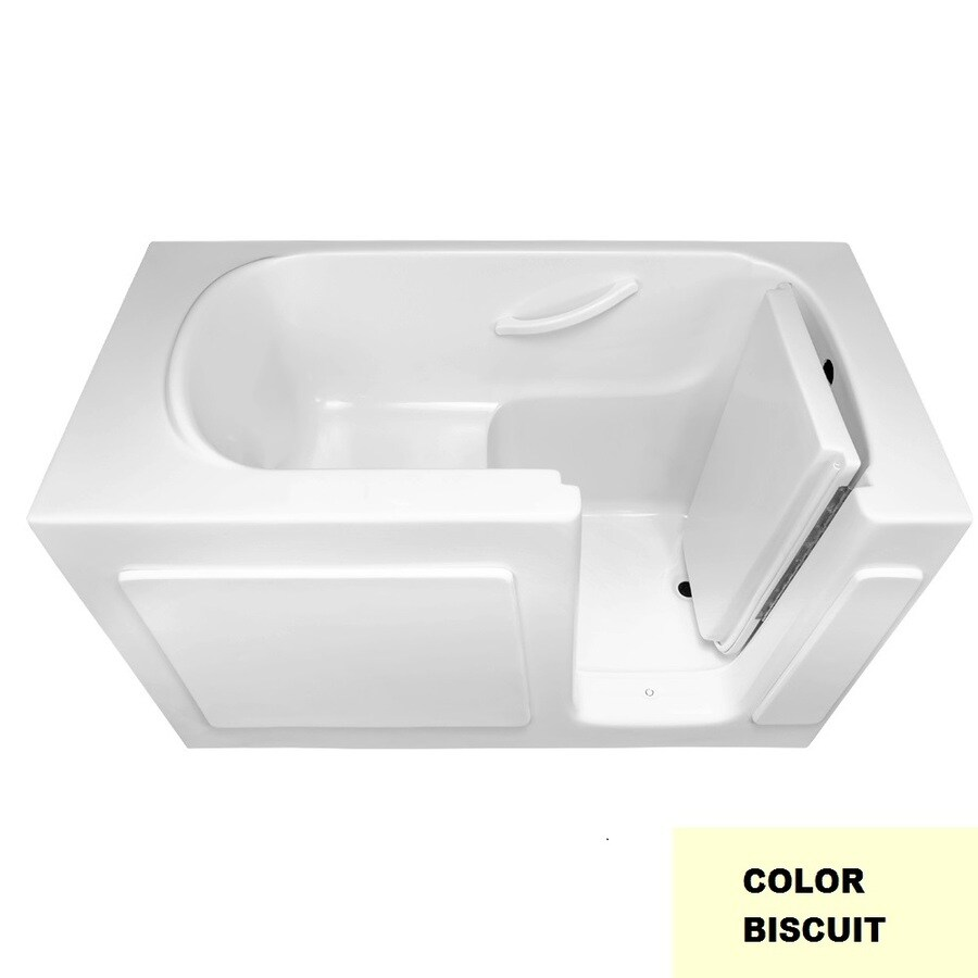 Laurel Mountain Westmont Biscuit Gelcoat/Fiberglass Rectangular Walk-in Bathtub with Right-Hand Drain (Common: 30-in x 60-in; Actual: 38-in x 30-in x 60-in