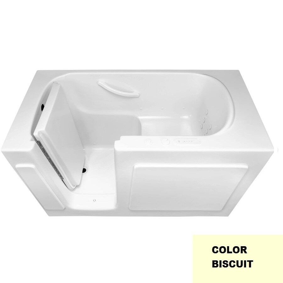 Laurel Mountain Westmont 54-in L x 30-in W x 38-in H 1-Person Biscuit Gelcoat/Fiberglass Rectangular Walk-in Whirlpool Tub and Air Bath