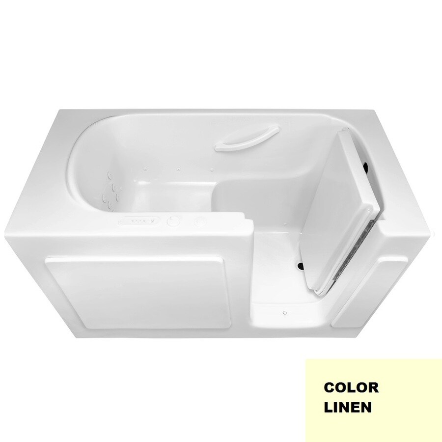 Laurel Mountain Westmont 60-in L x 30-in W x 38-in H 1-Person Linen Gelcoat/Fiberglass Rectangular Walk-in Whirlpool Tub and Air Bath