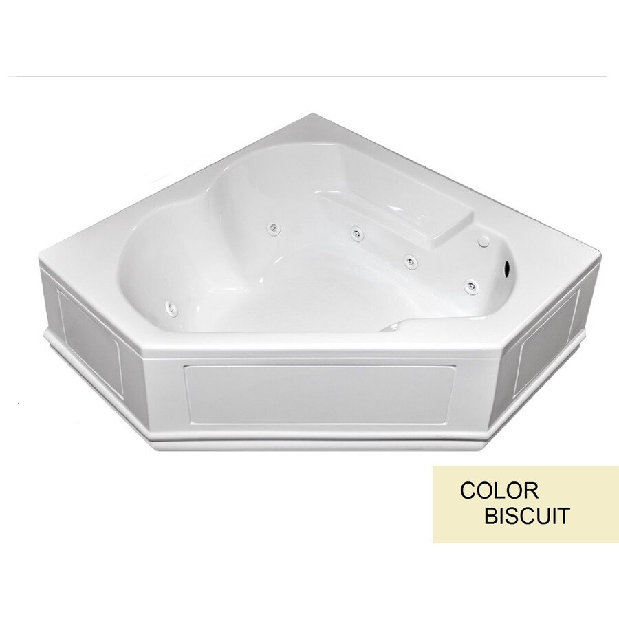 Laurel Mountain Dual Corner Plus Skirted 2-Person Biscuit Acrylic Corner Whirlpool Tub (Common: 60-in x 60-in; Actual: 20-in x 60-in x 60-in)
