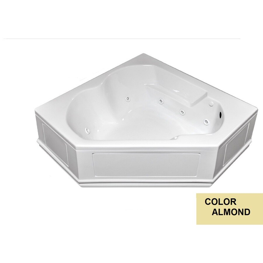 Laurel Mountain Dual Corner Plus Skirted 2-Person Almond Acrylic Corner Whirlpool Tub (Common: 60-in x 60-in; Actual: 20-in x 60-in x 60-in)
