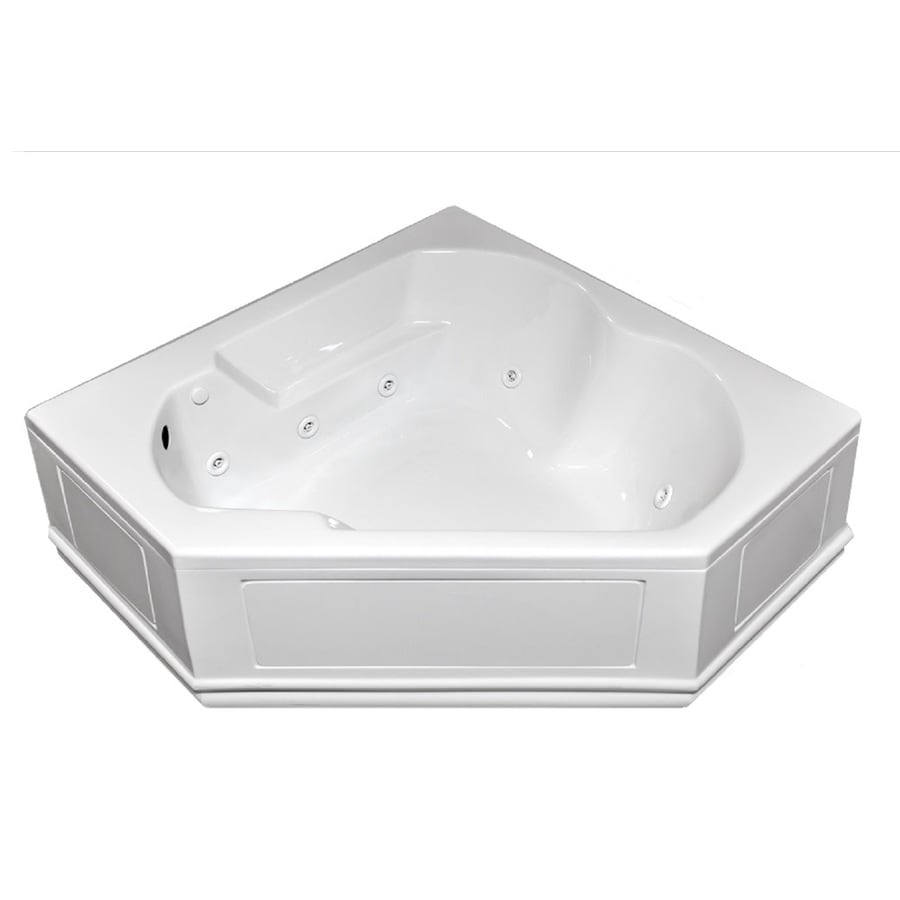 Laurel Mountain Dual Corner Plus Skirted 2-Person White Acrylic Corner Whirlpool Tub (Common: 60-in x 60-in; Actual: 20-in x 60-in x 60-in)