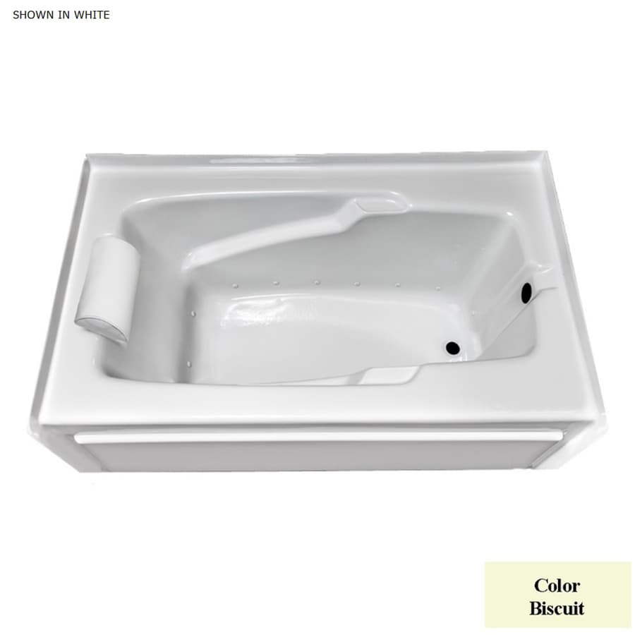 Laurel Mountain Mercer Vii 66-in L x 36-in W x 21-in H Biscuit Acrylic 1-Person-Person Rectangular Skirted Air Bath
