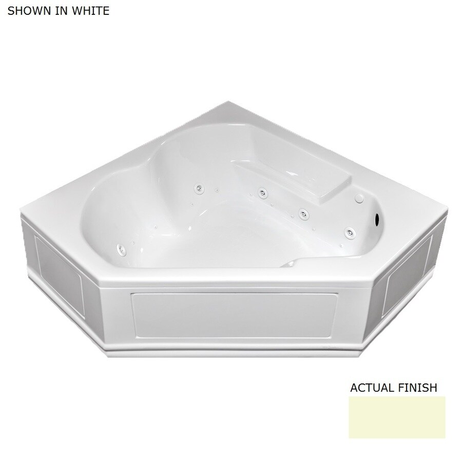 Laurel Mountain Colony 60-in L x 60-in W x 20-in H 2-Person Biscuit Acrylic Corner Whirlpool Tub and Air Bath