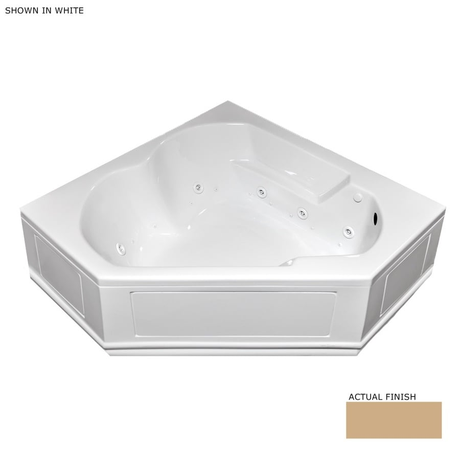 Laurel Mountain Colony 60-in L x 60-in W x 20-in H 2-Person Almond Acrylic Corner Whirlpool Tub and Air Bath