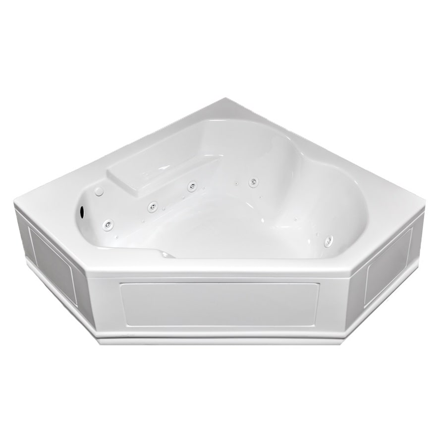 Laurel Mountain Colony 60-in L x 60-in W x 20-in H 2-Person White Acrylic Corner Whirlpool Tub and Air Bath