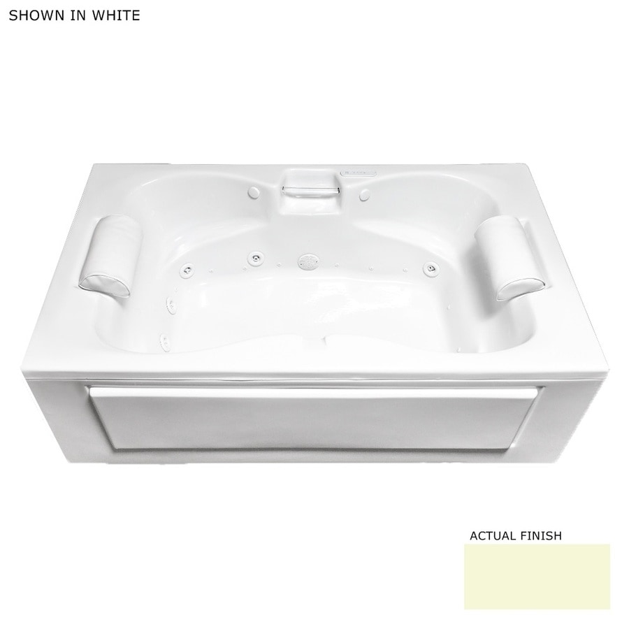 Laurel Mountain Colony 60-in L x 42-in W x 23-in H 2-Person Biscuit Acrylic Rectangular Whirlpool Tub and Air Bath