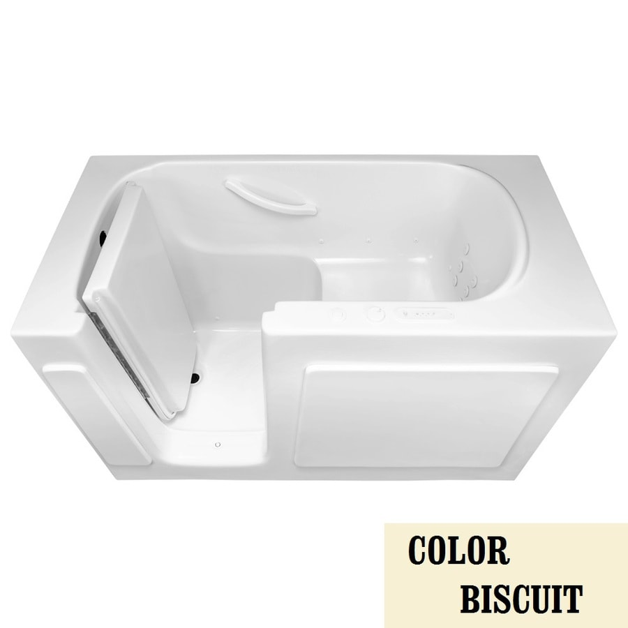Laurel Mountain Westmont Alcove or Corner 54-in L x 30-in W x 38-in H 1-Person Biscuit Gelcoat/Fiberglass Rectangular Walk-in Whirlpool Tub and Air Bath
