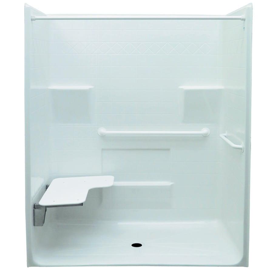 Laurel Mountain Vanleer Low Zero Threshold Barrier Free White Gelcoat and Fiberglass One-Piece Shower (Common: 34-in x 60-in; Actual: 78.75-in x 34-in x 63-in)