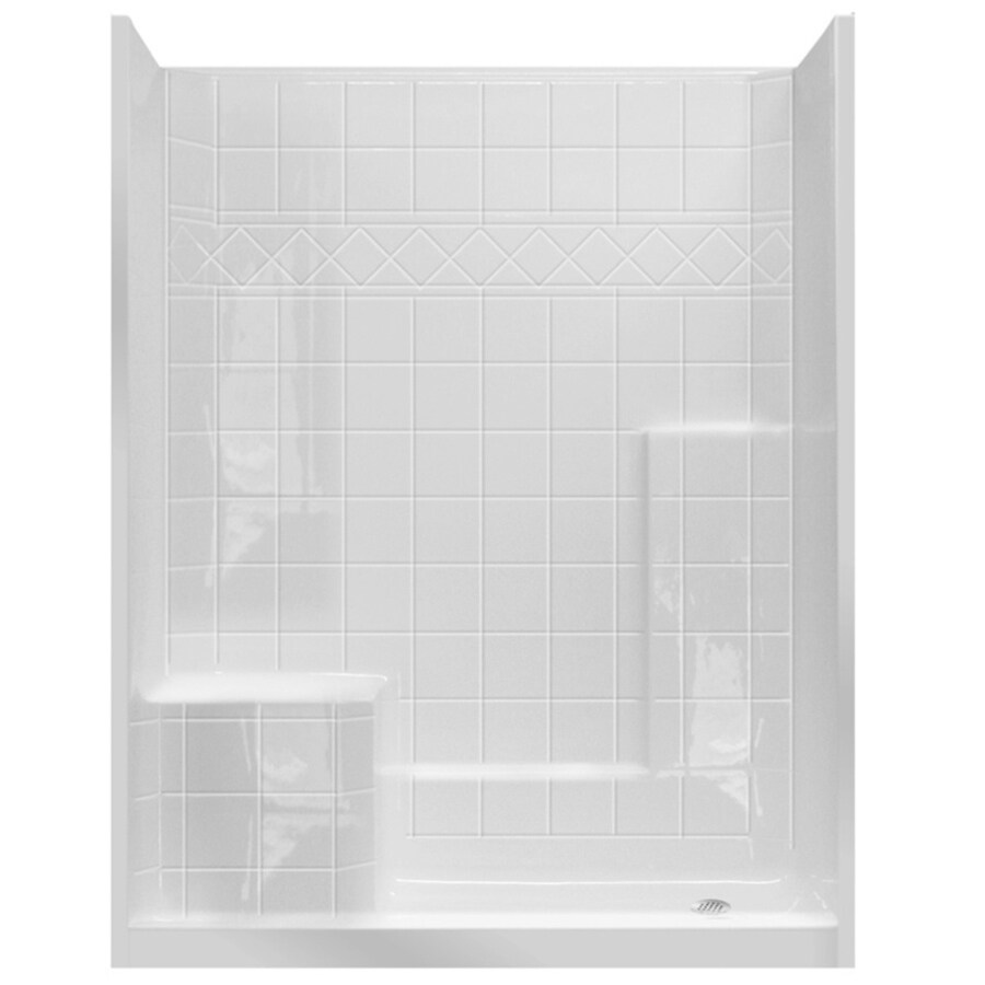 Laurel Mountain Atwood Low Zero Threshold- Barrier Free White Gelcoat/Fiberglass Wall Gelcoat/Fiberglass Floor 3-Piece Alcove Shower Kit (Common: 32-in x 60-in; Actual: 77-in X
