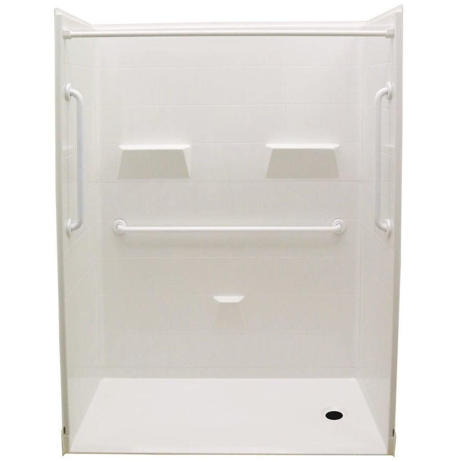 Cowan Low Zero Threshold- Barrier Free White Gelcoat/Fiberglass Wall Gelcoat/Fiberglass Floor 5-Piece Alcove Shower Kit (Common: 32-in x 60-in; Actual: 78-in X Product Photo