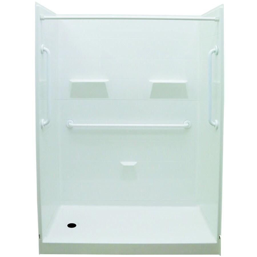 Laurel Mountain Jackson Low Zero Threshold- Barrier Free White Gelcoat/Fiberglass Wall Gelcoat/Fiberglass Floor 5-Piece Alcove Shower Kit (Common: 32-in x 60-in; Actual: 79.5-in X