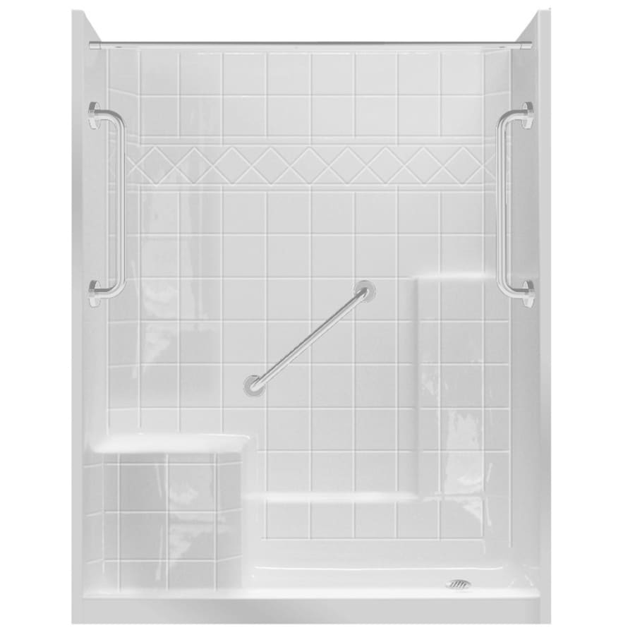 Loudon Low Zero Threshold- Barrier Free White Gelcoat/Fiberglass Wall Gelcoat/Fiberglass Floor 3-Piece Alcove Shower Kit (Common: 32-in x 60-in; Actual: 77-in X Product Photo
