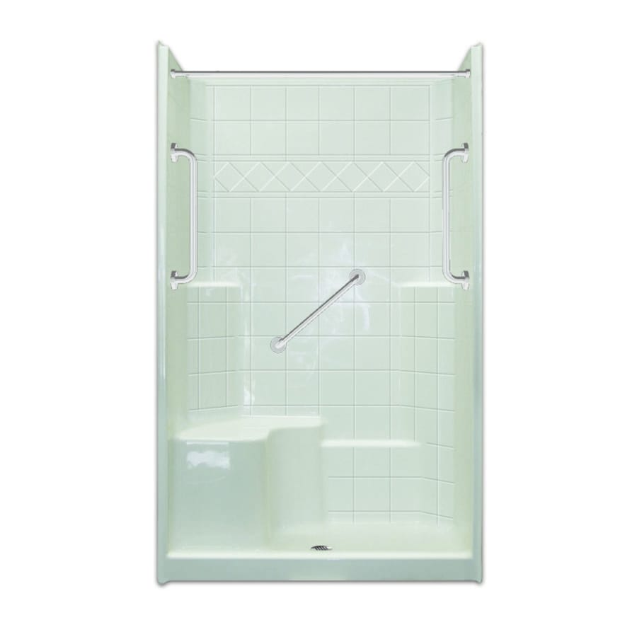 Spencer Low Zero Threshold- Barrier Free White Gelcoat/Fiberglass Wall Gelcoat/Fiberglass Floor 3-Piece Alcove Shower Kit (Common: 36-in x 48-in; Actual: 79.5-in X Product Photo