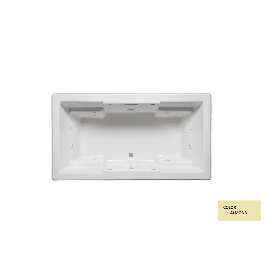 Laurel Mountain Reading Ii Almond Acrylic Rectangular Drop-in Bathtub with Front Center Drain (Common: 36-in x 66-in; Actual: 22-in x 36-in x 66-in