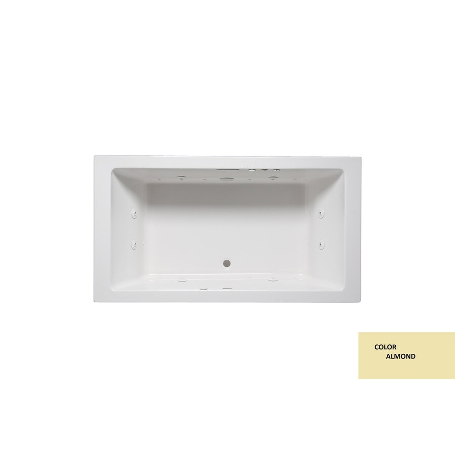 Laurel Mountain Farrell Iv Almond Acrylic Rectangular Drop-in Bathtub with Front Center Drain (Common: 32-in x 72-in; Actual: 22-in x 32-in x 72-in