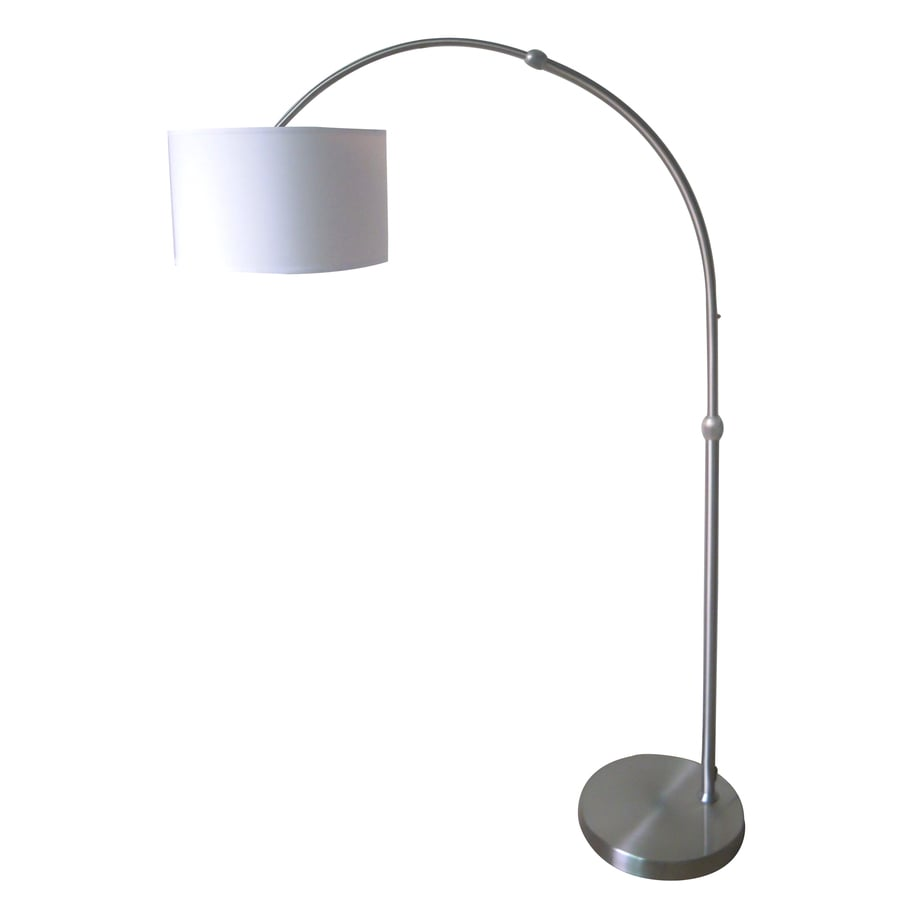 Style Selections 74-in Brushed Nickel Indoor Floor Lamp with Fabric Shade