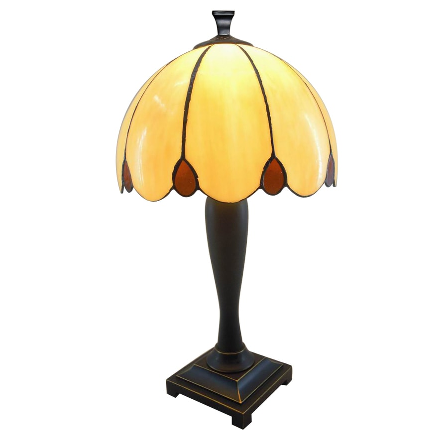 Portfolio 21-in Dark Brass Tiffany-Style Indoor Table Lamp with Glass Shade