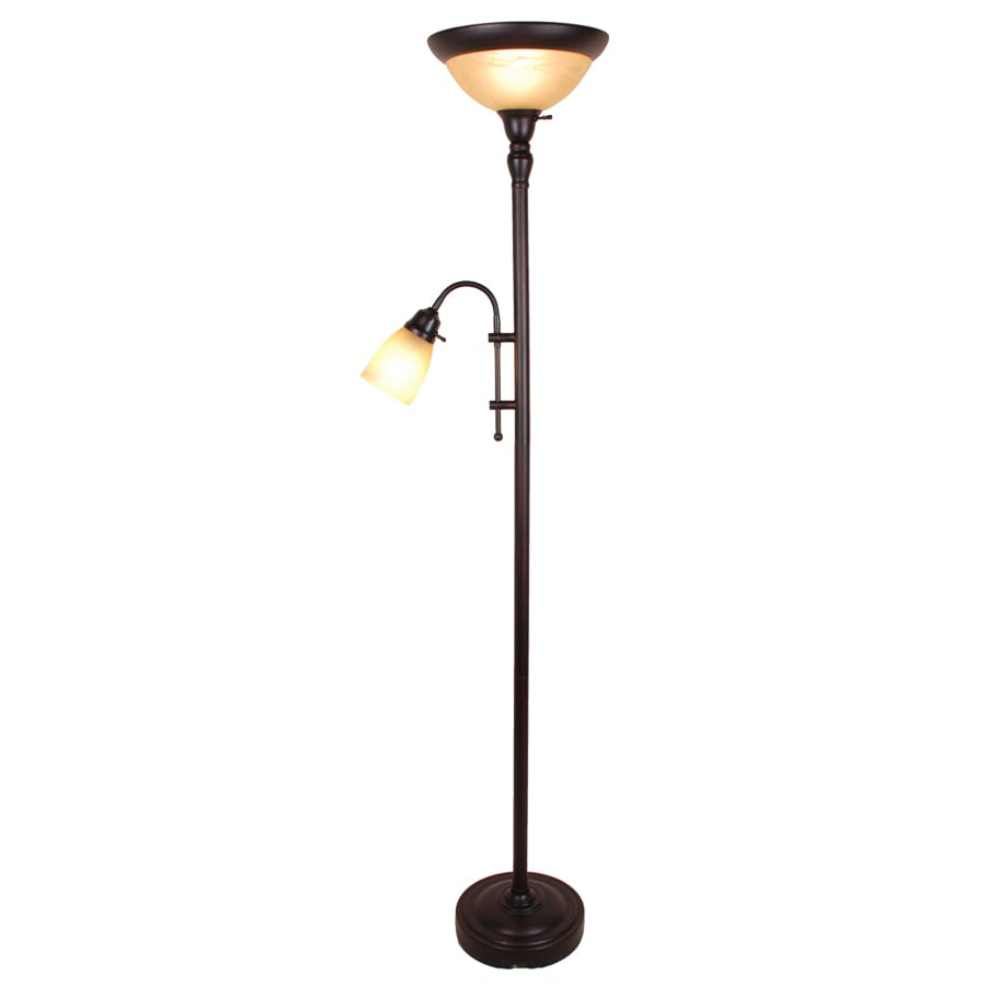 allen + roth 71.5-in Oil-Rubbed Bronze Finish Torchiere Indoor Floor Lamp with Glass Shade