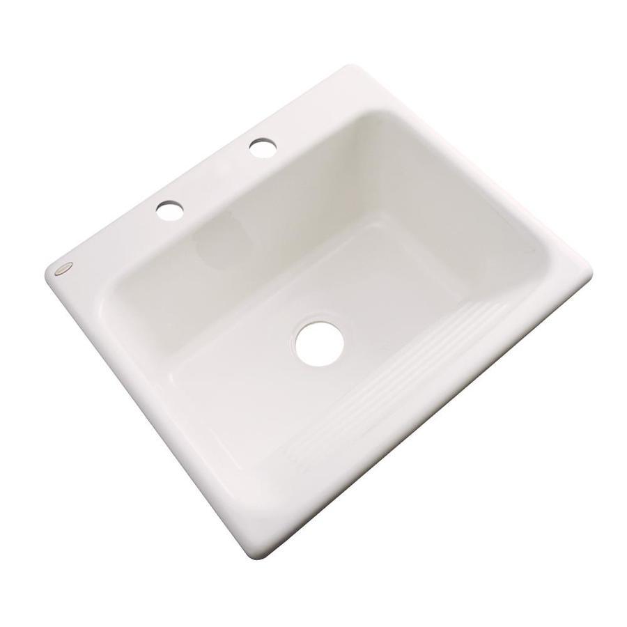 Dekor 22-in x 25-in Bone Drop-In Acrylic Laundry Utility Sink