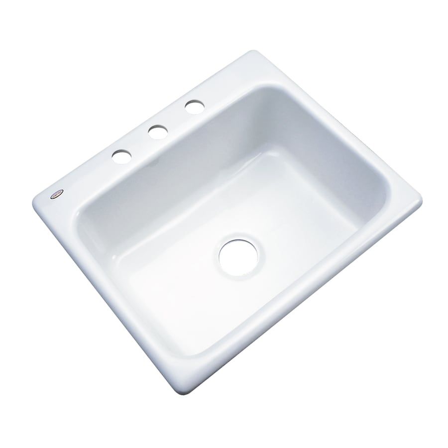 Dekor Master 22-in x 25-in White Single-Basin Acrylic Drop-In 3-Hole Residential Kitchen Sink