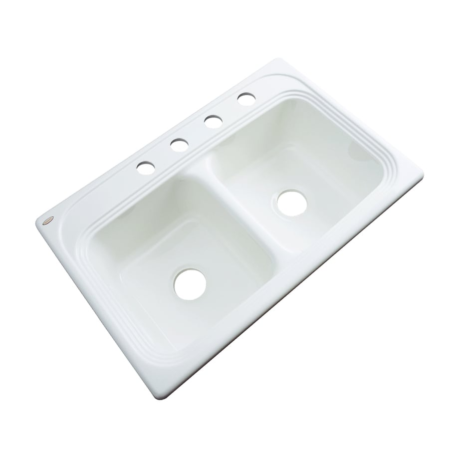 Dekor Master 22-in x 33-in White Double-Basin Acrylic Drop-In 4-Hole Residential Kitchen Sink
