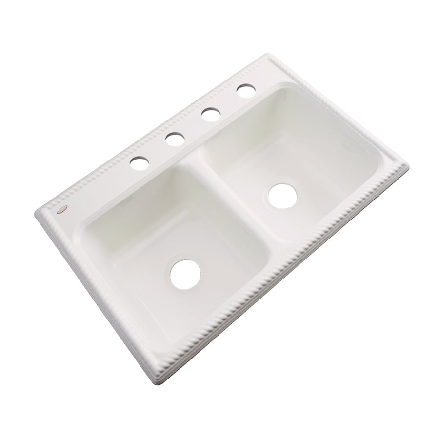 Dekor Master 22-in x 33-in Biscuit Double-Basin Acrylic Drop-In 4-Hole Residential Kitchen Sink