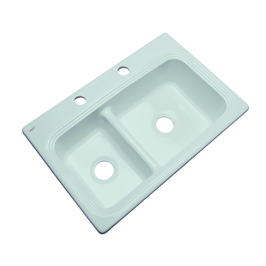 Acrylic Sink : ... Seafoam Double-Basin Acrylic Drop-in 2-Hole Residential Kitchen Sink