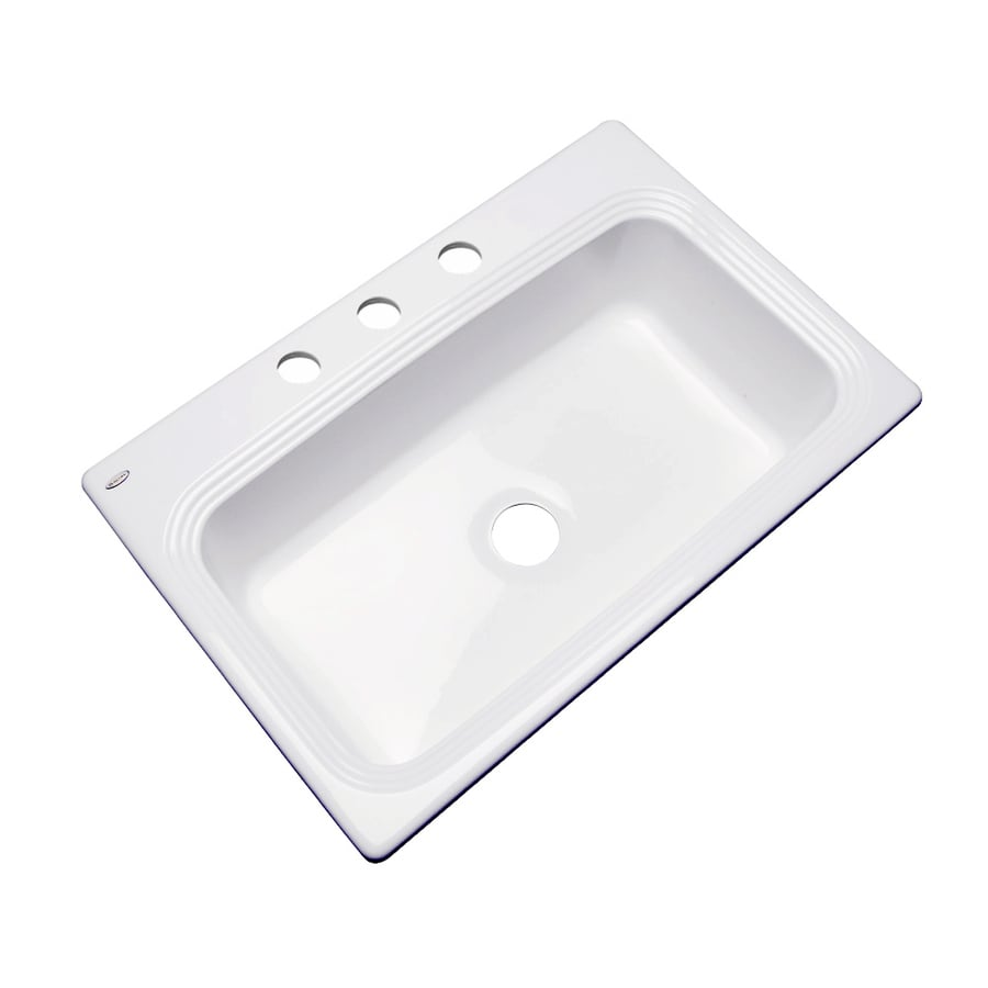 Dekor Master 22-in x 33-in White Single-Basin Acrylic Drop-In 3-Hole Residential Kitchen Sink