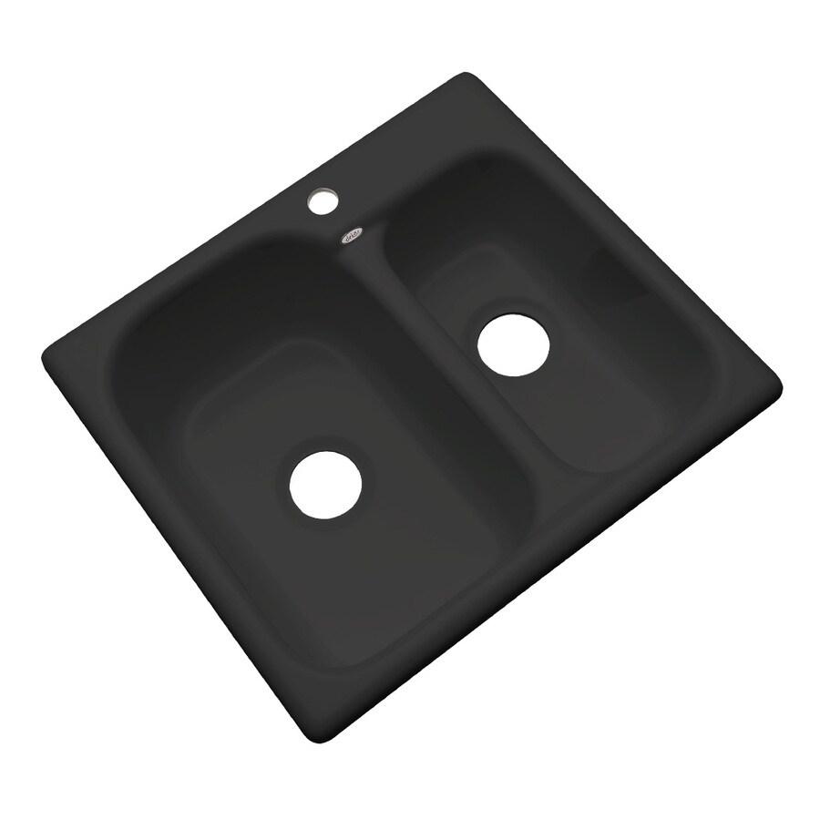 Dekor Master 22-in x 25-in Black Double-Basin Acrylic Drop-In Kitchen Sink