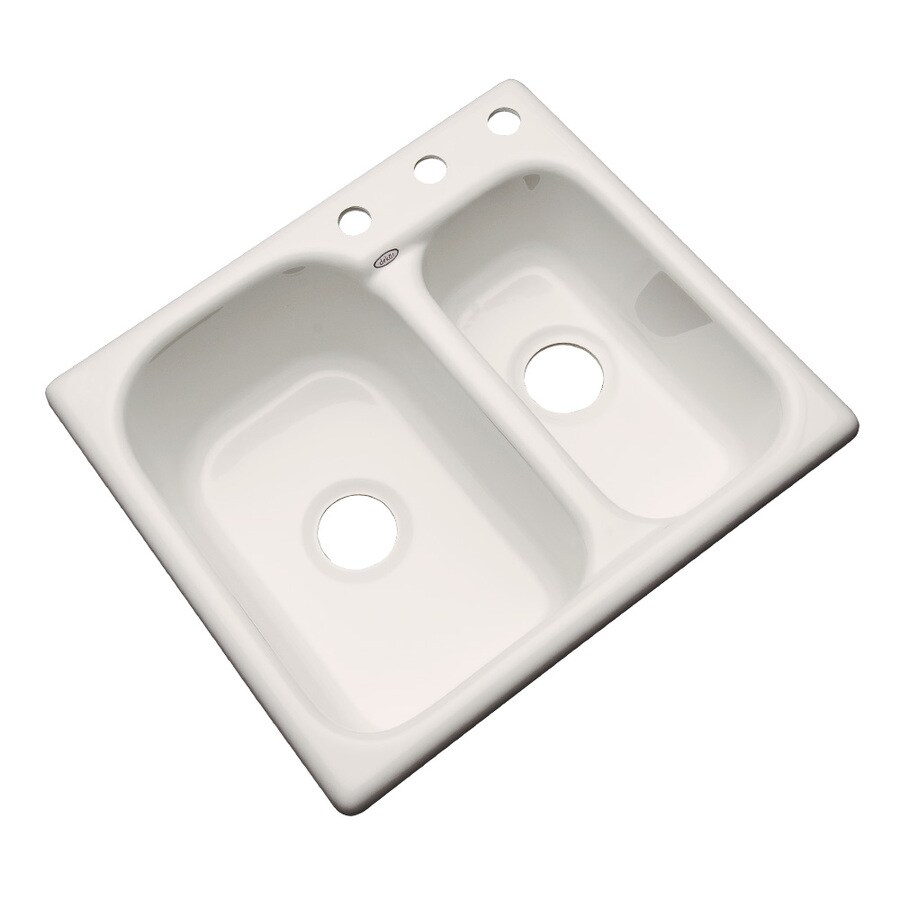 Dekor Master 25-in x 25-in Natural Double-Basin Acrylic Drop-In 3-Hole Residential Kitchen Sink