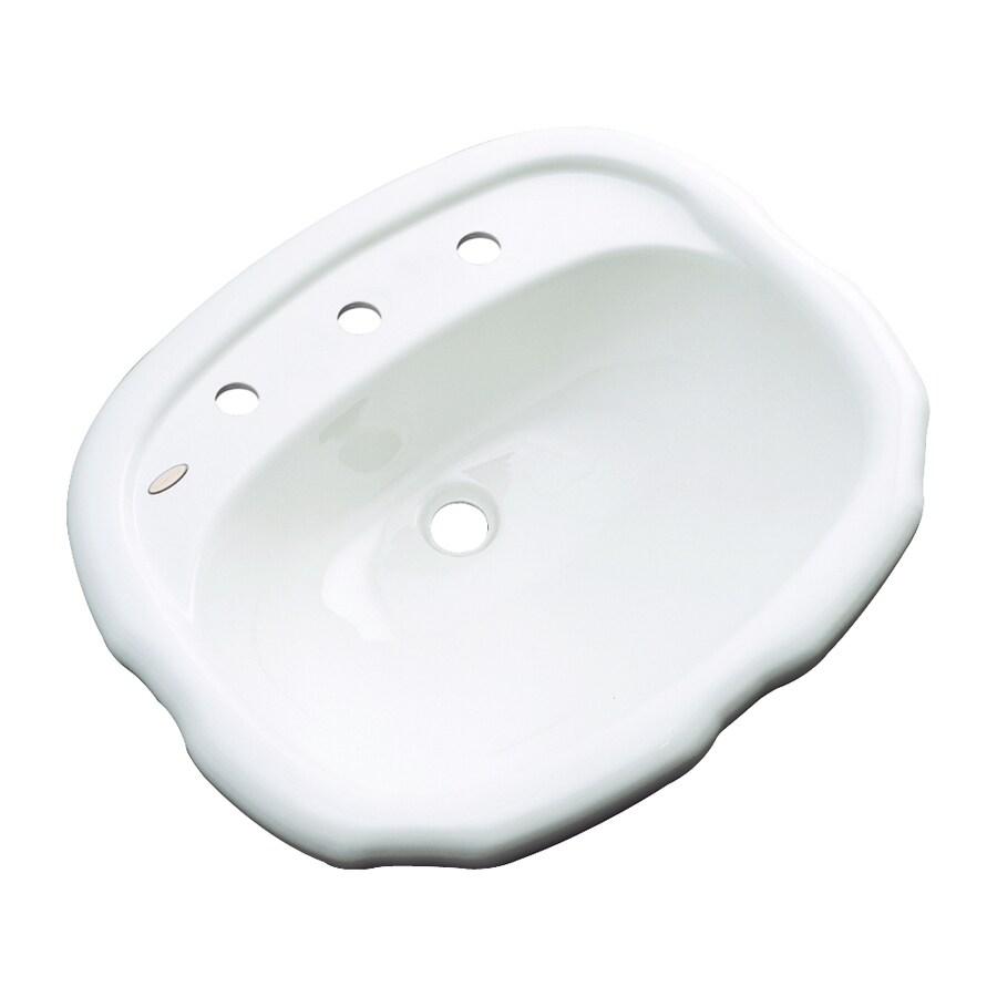 Dekor Cypress White Composite Drop-In Oval Bathroom Sink with Overflow