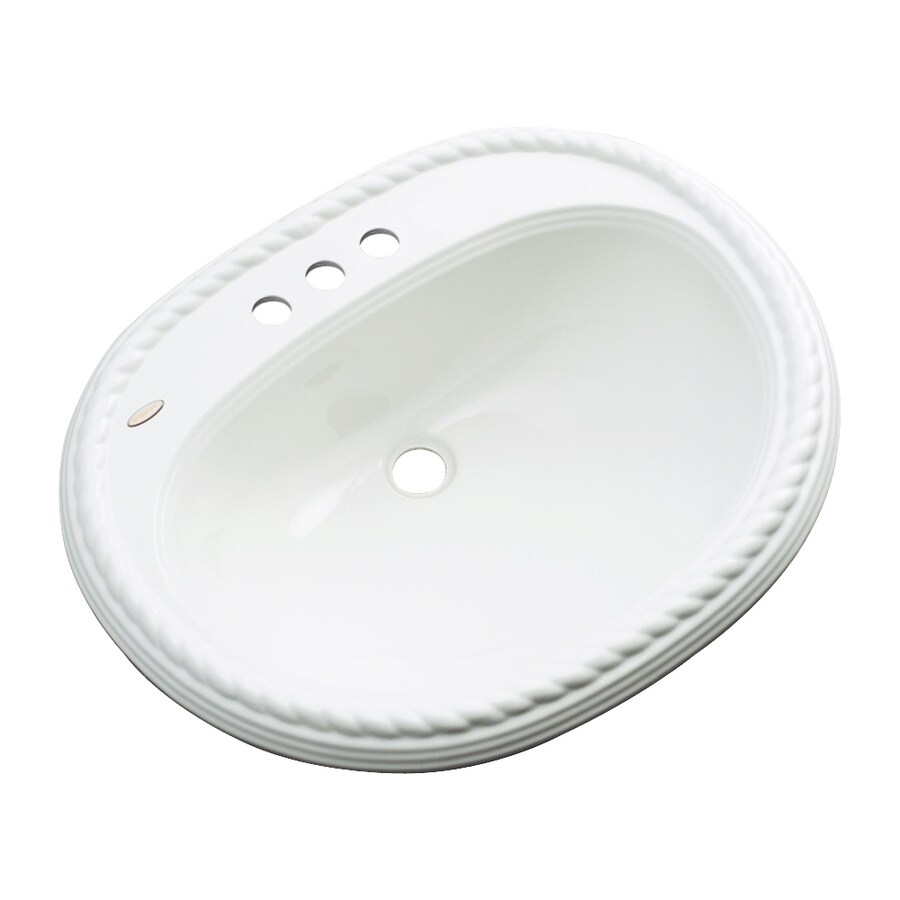 Dekor Manitou White Composite Drop-In Oval Bathroom Sink with Overflow
