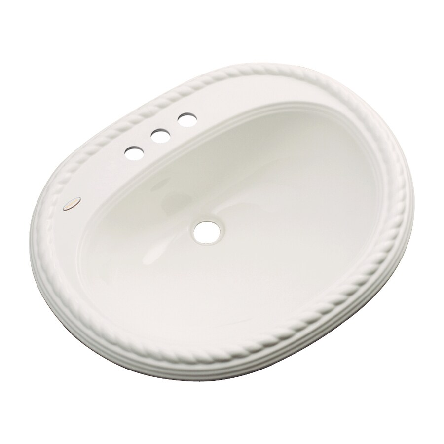 Dekor Manitou Almond Composite Drop-In Oval Bathroom Sink with Overflow