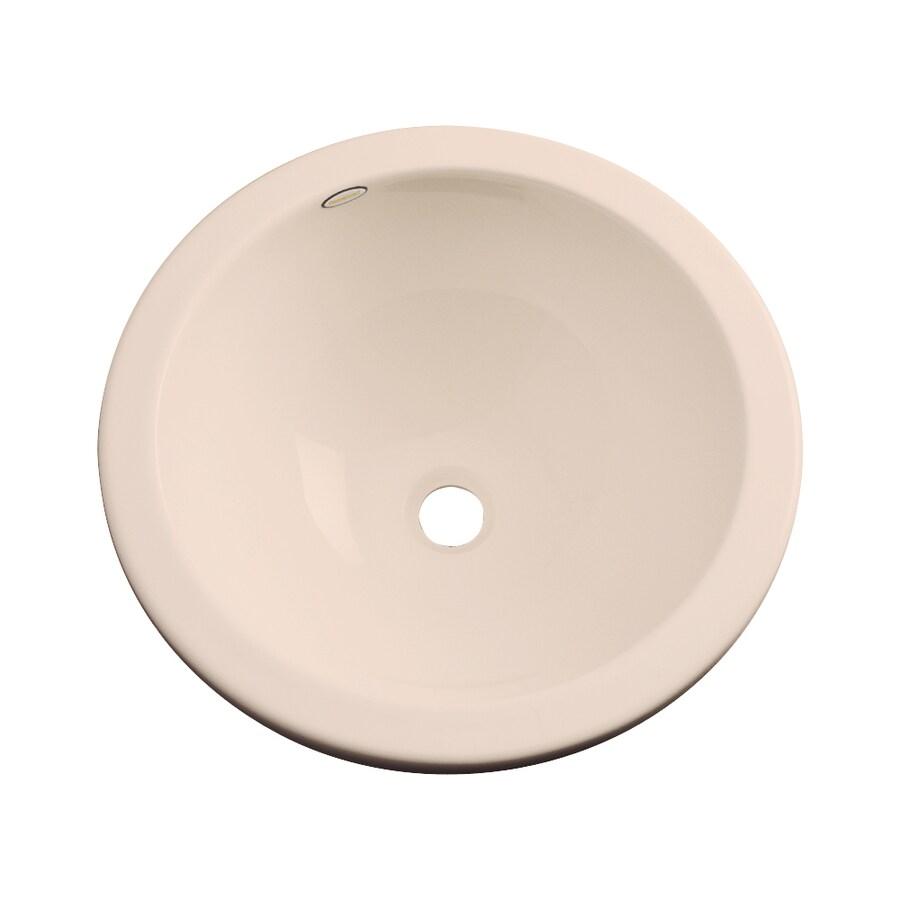 Dekor Perris Peach Bisque Composite Undermount Round Bathroom Sink with Overflow